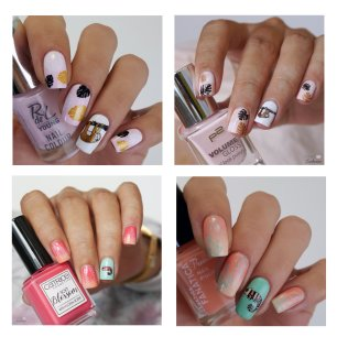 chameleon and sloth nailart