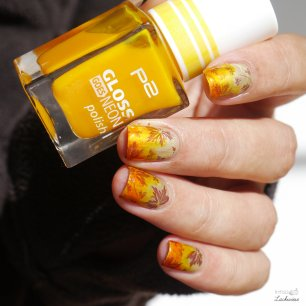 p2 neon gloss golden fall nailart (6)